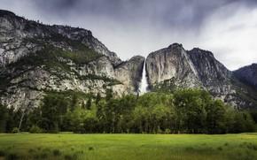 Картинка поле, лес, пейзаж, горы, природа, скала, водопад, красота, простор
