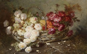 Картинка розы, лепестки, корзинка, георгины