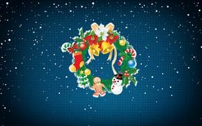 Картинка Минимализм, Снег, Рождество, Снежинки, Фон, Новый год, Праздник, Арт, Christmas, Art, Настроение, Snow, New Year, …