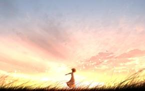 Картинка закат, природа, девочка