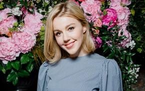 Картинка взгляд, девушка, цветы, улыбка, красивая, Юлианна Караулова