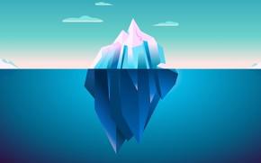 Картинка холод, лед, море, небо, облака, дно, айсберг