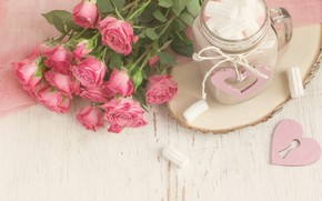 Картинка розы, букет, кружка, какао, зефир, маршмеллоу