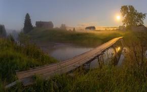 Обои свет, пейзаж, ночь, природа, луна, деревня, травы, мостик, речушка, Vaschenkov Pavel
