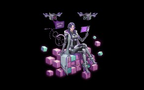 Картинка Girl, Cubes, Art, Neon, Minimalism, Cyber, Tablet, Monitor, Drones, Discuzz, Get to work, Purple cube
