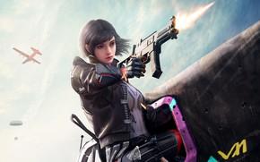 Картинка девушка, пистолет, PlayerUnknown's Battlegrounds