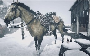 Картинка HDR, Winter, Snow, Game, Cold, Horse, UHD, 4K, Red Dead Redemption 2, Xbox One X, …
