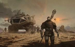 Картинка дорога, транспорт, дым, воины, Journey