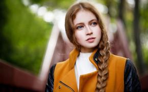 Картинка глаза, взгляд, улыбка, волосы, Девушка, коса, Maksim Romanov