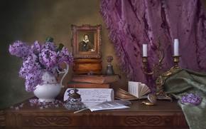 Картинка перо, книги, портрет, свечи, натюрморт, штора, колокольчик, сирень, Пушкин