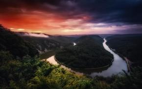 Картинка лес, облака, деревья, закат, тучи, река, вечер, Германия, Саар, Сааршляйфе, Петля Саара