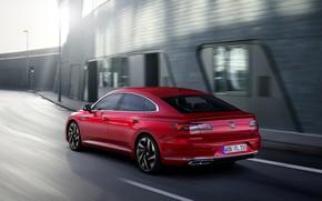 Картинка красный, Volkswagen, сзади, R-Line, лифтбэк, 2020, Arteon
