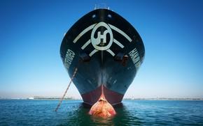 Картинка Океан, Море, Цепь, Судно, Нос, Контейнеровоз, Бак, Бульб, Vessel, Hanjin, Container Ship, Hanjin Montevideo, M/V ...