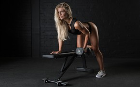 Картинка blonde, fitness, Matt Marsh, brench