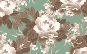 Картинка цветы, фон, узор, розы, текстура