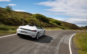 Картинка Дорога, Трава, Porsche, Скорость, Spyder, Porsche 718, 2019, Porsche 718 ( 982 ) Spyder