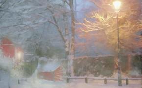 Картинка зима, снег, деревья, улица, вечер, лиса, фонарь, домик