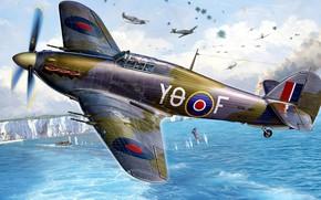 Картинка Hawker, британский одноместный истребитель, Sea Hurricane IIC, Sea Hurricane Mk.II C, оснащённый морским приёмо-передатчиком, для ...