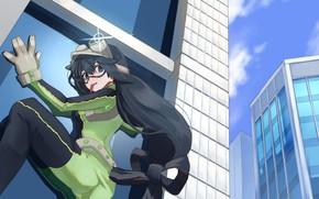 Картинка девушка, город, здание, Boku no Hero Academia, Моя геройская академия, Asui Tsuyu