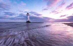 Картинка море, берег, маяк, Англия, вечер, прибой
