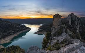 Картинка пейзаж, закат, горы, природа, река, растительность, ущелье, Испания, Каталония, Пиренеи, Mont-rebei, Монт Ребей
