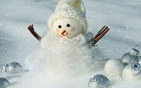 Картинка зима, белый, шарики, снег, ветки, фон, праздник, шары, шапка, игрушка, Рождество, Новый год, мех, снеговик, …