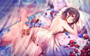Картинка Цветы, Девушка, Кровать, Розы, Арт