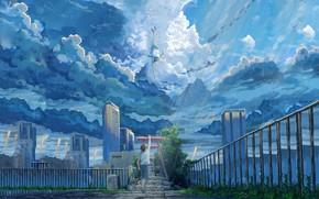Картинка девушка, облака, город, парень, Hina Amano, Tenki no ko, Hodaka Morishima, Дитя Погоды