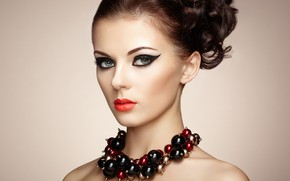 Картинка портрет, макияж, прическа, бусы, шатенка, украшение, фотомодель, Oleg Gekman