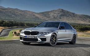 Картинка асфальт, горы, серый, BMW, седан, 4x4, 2018, четырёхдверный, M5, V8, F90, M5 Competition