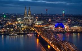 Картинка мост, огни, река, Германия, панорама, собор, Кёльн