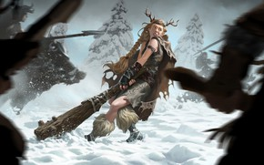 Картинка девушка, снег, викинги, Legends of Runeterra