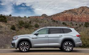Картинка Volkswagen, SUV, в профиль, Atlas, 2020, серо-серебристый