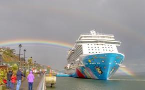 Картинка люди, корабль, радуга, причал
