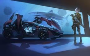 Картинка Девушка, Аквариум, Машина, Акула, Автомобиль