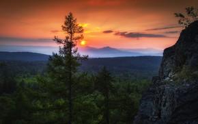Картинка небо, солнце, облака, деревья, закат, природа, скалы, вечер, Павел Сагайдак, Урал-тау