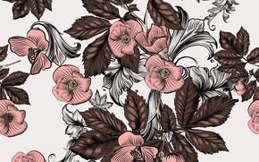 Картинка цветы, ретро, фон, розовый, узор, коричневый, винтаж