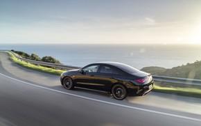 Картинка дорога, машина, вода, природа, купе, компактный, Mercedes-Benz CLA