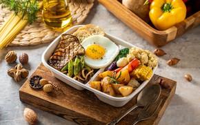 Картинка мясо, перец, яичница, овощи, картофель