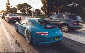 Картинка дорога, машины, город, голубой, 911, Porsche