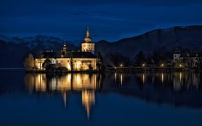 Картинка замок, вечер, Австрия, подсветка, Гмунден