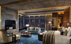 Картинка дизайн, мебель, интерьер, мегаполис, жилая комната