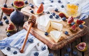 Картинка сыр, черника, мед, инжир