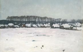 Картинка масло, картина, холст, Зимний пейзаж, 1922, Willem Witsen, Виллем Витсен