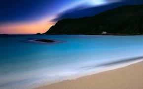 Картинка песок, море, пляж, горы, ночь, скалы, берег, Норвегия, сумерки, Лофотенские острова, песчаный, Лофотены