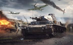 Картинка война, игра, дым, грязь, лужи, танки, самолёты, War Thunder