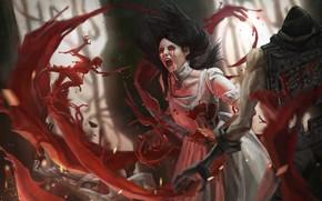 Картинка демон, боль, сражение, крик, art, Alice, кровавые слезы, кровища, Alice Madness Returns, черная магия, безумие ...