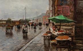 Картинка Napoli, Naples, Неаполь, итальянский живописец, Italian painter, oil on canvas, la via del Mercato, Attilio …