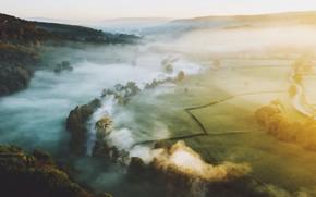 Картинка деревья, туман, холмы, утро, долина