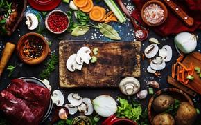 Картинка зелень, стол, грибы, доски, лук, предметы, много, специи, шампиньоны, картошка, ложки, миски, процесс приготовления